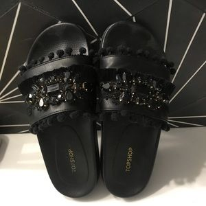 Topshop Jeweled Pompom Slides